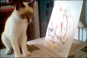 Tuffy Trucker The Destroyer Micron cat and her painting. I swear.