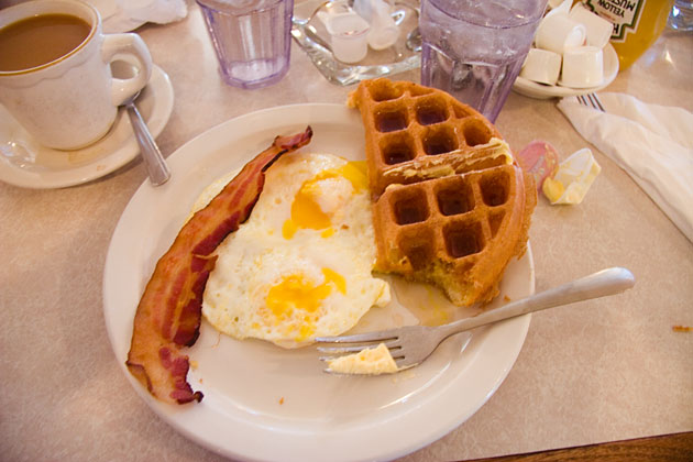 waffles at Heyworth Diner